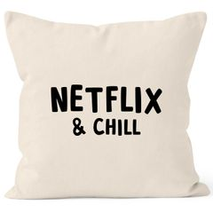 Kissen-Bezug Netflix and chill Kissen-Hülle Deko-Kissen Baumwolle MoonWorks®