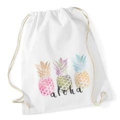 Turnbeutel Ananas Aloha Hipster Beutel Tasche Jutebeutel Stringbag Drawstring