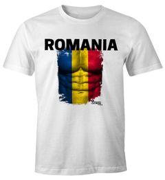 EM T-Shirt Herren Fußball Rumänien Flagge Fanshirt Waschbrettbauch MoonWorks®