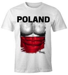 EM T-Shirt Herren Fußball Polen Flagge Fanshirt Polska Waschbrettbauch MoonWorks