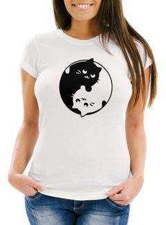Katzen T-Shirt Damen Ying Yang Cats Motiv Moonworks®