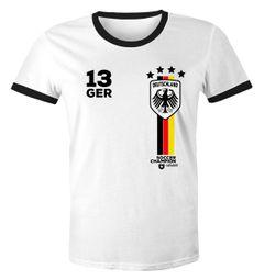 Herren Fan-Shirt Fußball Retro Deutschland Germany Weltmeisterschaft Fan-Trikot Style WM 2018 Moonworks®