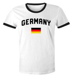 Moonworks® Herren Deutschland Fan-Shirt T-Shirt Fußball WM EM Retro Fan-Trikot Weltmeisterschaft Europameisterschaft
