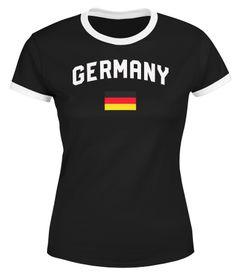 Moonworks® Damen Deutschland Fan-Shirt T-Shirt Fußball WM EM Retro Fan-Trikot Weltmeisterschaft Europameisterschaft