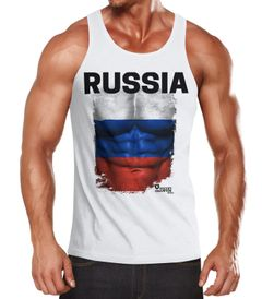 Herren Tanktop Tank Top - Fußball EM 2016 Russia Russland Flagge Fan Waschbrettbauch - MoonWorks®