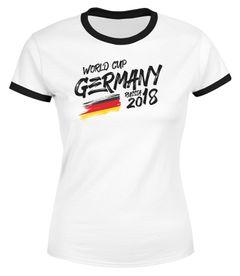 Damen T-Shirt Deutschland Fan-Shirt Retro Fußball WM 2018 Weltmeisterschaft Fan-Trikot Moonworks®