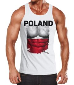 EM Tanktop Herren Fußball Polen Poland Flagge Fanshirt Waschbrettbauch MoonWorks