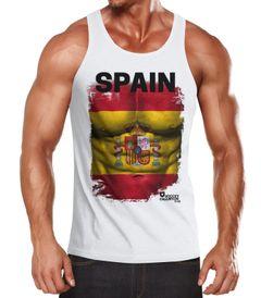 EM Tanktop Herren Fußball Spanien Flagge Fanshirt Waschbrettbauch MoonWorks®