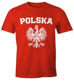 Herren T-Shirt Fußball WM Polska Polen Poland Flagge Weißer Adler Moonworks®