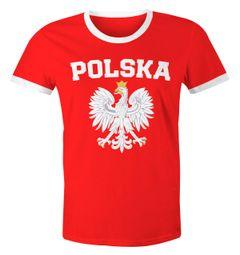 Herren WM-Shirt WM Polska Polen Poland Flagge World Cup Weißer Adler 2018 Retro