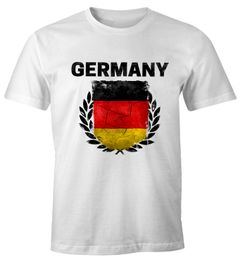 EM WM T-Shirt Herren Fußball Deutschland Vintage Flagge Fanshirt MoonWorks®