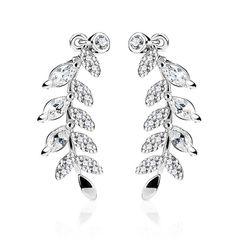 Ohrstecker Ohrklemme Ohrring Kristallblatt Zweig Crystal Leaf Ear Crawler Damen Autiga®
