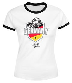Damen Fan-Shirt WM-Shirt Badge Germany Deutschland Flagge Fußball Weltmeisterschaft 2018 Retro Fan-Trikot Moonworks®