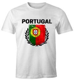 Herren T-Shirt - Fußball EM 2016 Portugal Flagge Vintage - Comfort Fit MoonWorks®