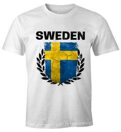 EM WM T-Shirt Herren Fußball Schweden Flagge Sweden Vintage Fanshirt MoonWorks®