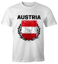 EM WM T-Shirt Herren Fußball Österreich Flagge Vintage Fanshirt MoonWorks®