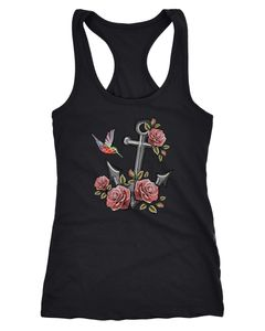 Damen Tank-Top Anker Rosen Patch Tropical Anchor Stick-Optik Racerback Neverless®