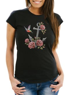 Damen T-Shirt Anker Rosen Patch Tropical Anchor Stick-Optik Slim Fit Neverless®