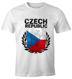 EM WM T-Shirt Herren Fußball Tschechien Flagge Vintage Fanshirt MoonWorks®