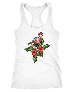 Damen Tank-Top Flamingo Tropical Palmblätter Sommer Stick-Patch-Optik Racerback Neverless®