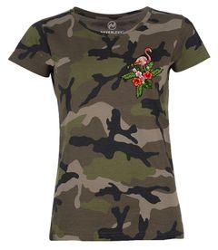 Damen T-Shirt Camouflage Camo-Shirt Flamingo Tropical Palmblätter Sommer Stick-Patch-Optik Tarnmuster Neverless®