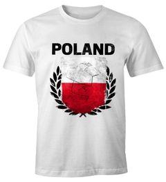 EM WM T-Shirt Herren Fußball Polen Flagge Vintage Poland Fanshirt MoonWorks®