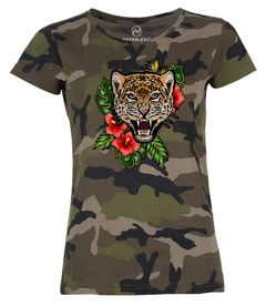 Damen T-Shirt Camouflage Camo-Shirt Tiger Tropical Palmblätter Sommer Stick-Patch-Optik Tarnmuster Neverless®