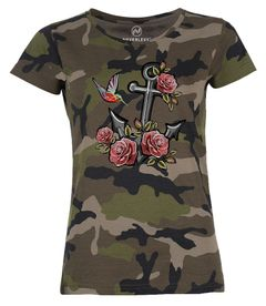 Damen T-Shirt Camouflage Anker Rosen Patch Tropical Anchor Stick-Optik Camo-Shirt Tarnmuster Neverless®