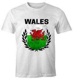 EM WM T-Shirt Herren Fußball Wales Flagge Vintage Fanshirt MoonWorks®