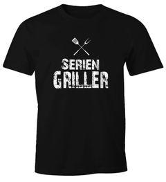 Herren T-Shirt Seriengriller Fun-Shirt Gríll-Shirt Moonworks®