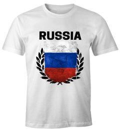 EM WM T-Shirt Herren Fußball Russland Flagge Vintage Russia Fanshirt MoonWorks®