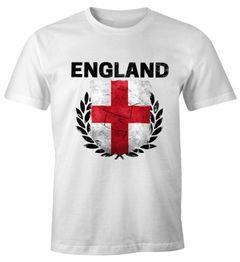 EM WM T-Shirt Herren Fußball England Flagge Vintage Fanshirt Fan Shirt MoonWorks