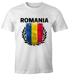 EM WM T-Shirt Herren Fußball Rumänien Flagge Vintage Romania Fanshirt MoonWorks®