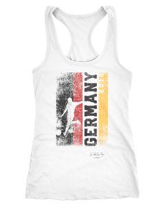 Damen Tank Top Fan-Shirt Deutschland WM 2018 Fußball Weltmeisterschaft Racerback Muskelshirt Muscle Shirt Achselshirt Moonworks®