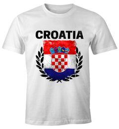 Herren T-Shirt - Fußball EM 2016 Croatia Kroatien Flagge Vintage - Comfort Fit MoonWorks®