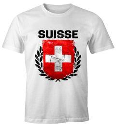 EM WM T-Shirt Herren Fußball Schweiz Flagge Vintage Suisse Fanshirt MoonWorks®