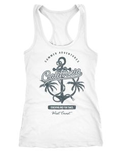 Damen Tank-Top Anker Palmen Anchor Palms Racerback Baumwolle Slim Fit Neverless®