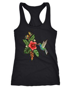 Damen Tank-Top Tropical Kolibri Vogel Palmblätter Sommer Stick-Patch-Optik Hummingbird Racerback Slim Fit tailliert Baummwolle Neverless®