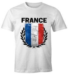 EM WM T-Shirt Herren Fußball Frankreich Flagge Vintage France Fanshirt MoonWorks