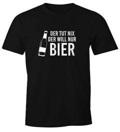 Herren T-Shirt Der tut nix, der will nur Bier Fun-Shirt Spruch Moonworks®