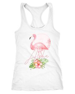 Damen Tank-Top Flamingo Aloha Tropical Summer Jungle Paradise Hummingbird  Racerback Slim Fit Baumwolle Neverless®