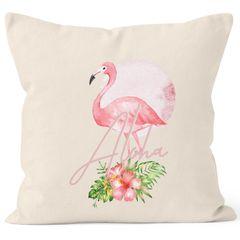 Kissenbezug Flamingo Aloha Tropical Summer Jungle Paradise Hummingbird Kissen-Hülle Deko-Kissen quadratisch Baumwolle Autiga®
