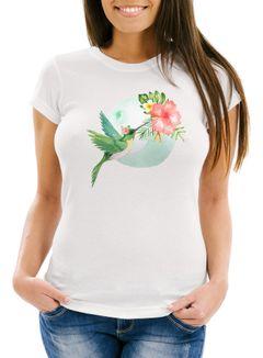 Damen T-Shirt Kolibri Vogel Tropical Summer Jungle Paradise Hummingbird Slim Fit tailliert Baumwolle Neverless®