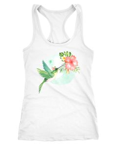 Damen Tank-Top Kolibri Vogel Tropical Summer Jungle Paradise Hummingbird Racerback Slim Fit tailliert Baumwolle Neverless®