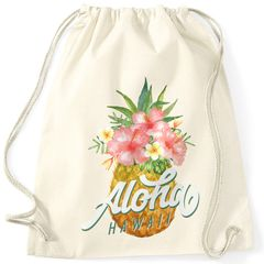 Turnbeutel Ananas Aloha Hawaii Blumen Pineapple Tropical Summer Jungle Paradise Hummingbird Gymsac Gymbag Autiga®