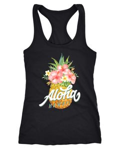 Damen Tank-Top Ananas Aloha Hawaii Blumen Pineapple Tropical Summer Jungle Paradise Hummingbird Racerback Slim Fit tailliert Baumwolle Neverless®