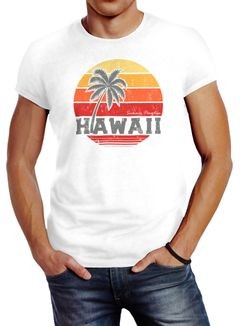 Herren T-Shirt Hawaii Palme Tropical Summer Retro Slim Fit Baumwolle Neverless®