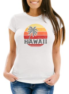Damen T-Shirt Hawaii Palme Tropical Summer Retro Slim Fit Baumwolle Neverless®
