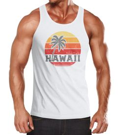 Herren Tank-Top Hawaii Palme Tropical Summer Retro Slim Fit Baumwolle Muskelshirt Muscle Shirt Neverless®