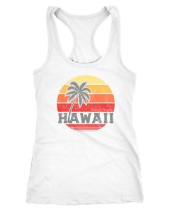 Damen Tank-Top Hawaii Palme Tropical Summer Retro Slim Fit Baumwolle Racerback Neverless®